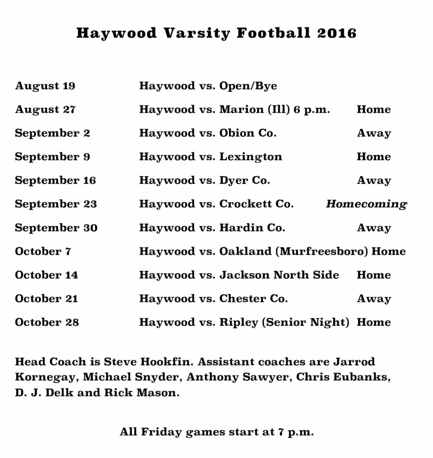 Microsoft Word - Haywood Varsity Football 2016 Schedule (3).docx