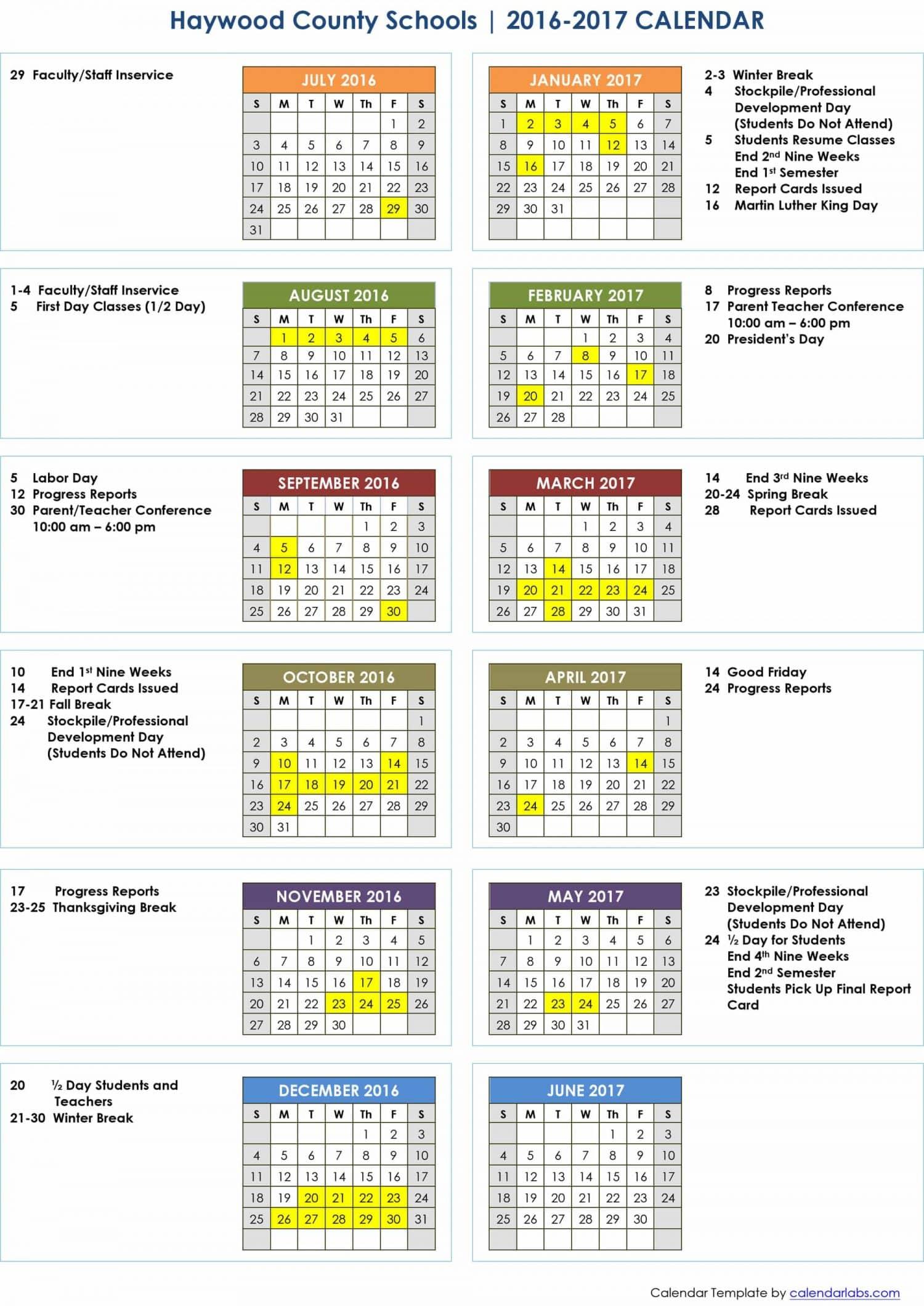 Microsoft Word - 2016-2017 HCS Calendar.doc