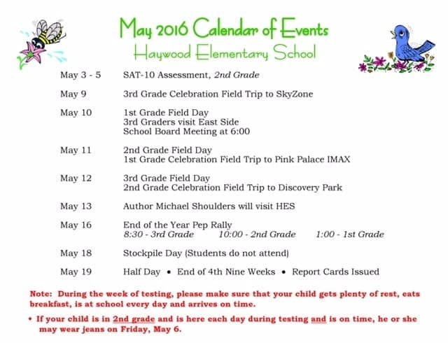 May Calendar Of Events : School calendar haywood county schools test site
