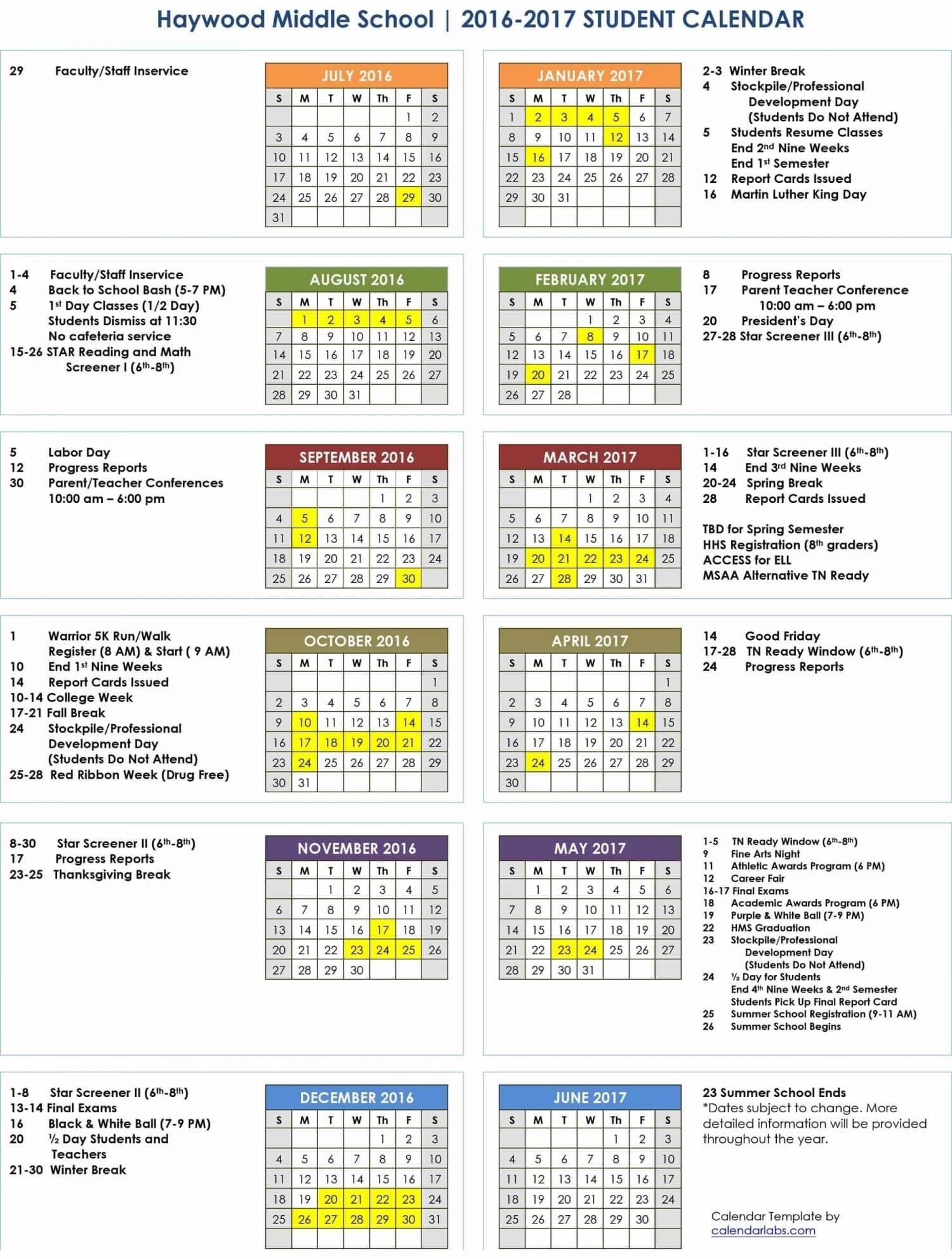Microsoft Word - 2016-2017 HMS Calendar.Student.doc