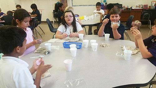Students in STEM make slime