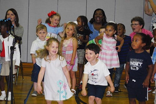 Preschoolers entertain with music and dance