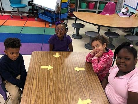 "Anderson students learn the letter ""U"""