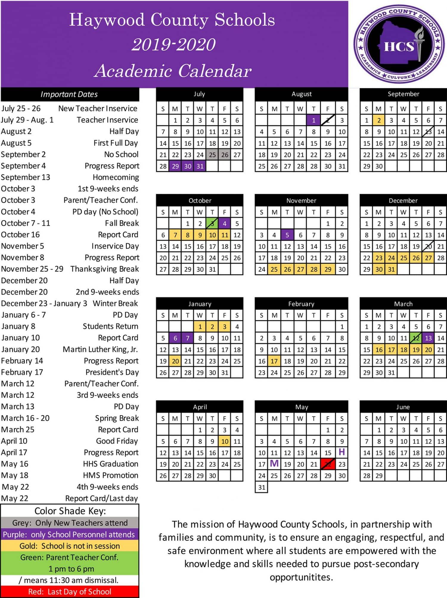 School Calendar 2019 2021 School Calendar   Haywood County Schools